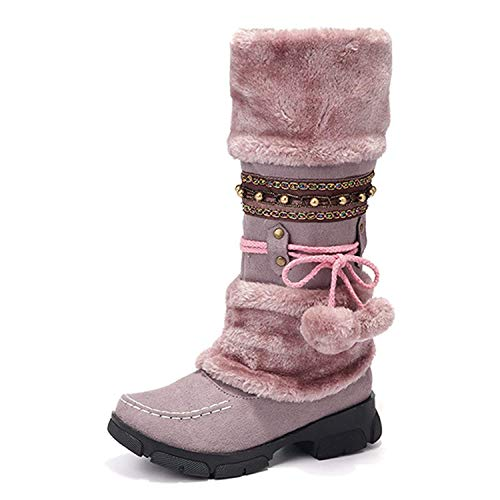 Vuticly Womens mid Calf Snow Boots Flats Faux Fur Round Toe Slip on Warm Winter Shoes Purple