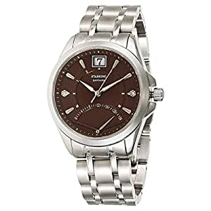 Starking Men's Brown Dial Stainless Steel Band Watch - BL0855SS19