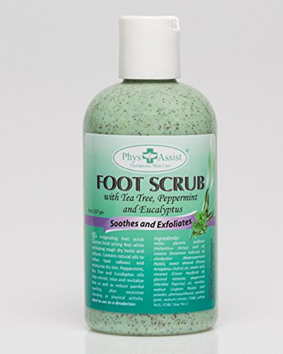 PhysAssist Foot Scrub 8 oz. with Tea Tree, Peppermint & Eucalyptus Soothes and Exfoliates Promoting a Deep Cooling Sensation Leaving Feet Feeling Calm and Refreshed.