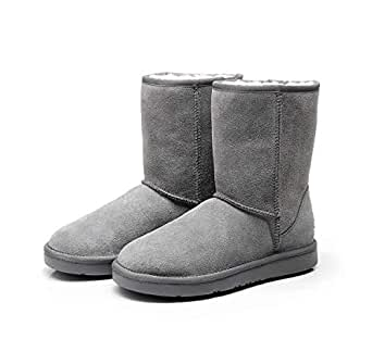 2019 New Premium Wool UGG Boots, 3/4 Short Classic, Suede Upper & Australian Sheepskin Inner(US 6, GREY)
