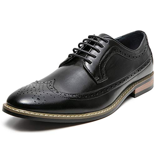 Mens Wingtip Brogue Leather Lined Lace-up Oxford Dress Shoes (10.5 M US, Black1)