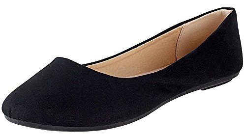 Cambridge Select Women's Classic Closed Round Toe Slip-on Ballet Flat,8 B(M) US,Black Linen by Cambridge Select