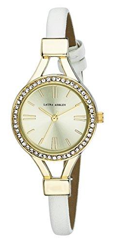 Laura Ashley Ladies White Thin Strap Gold Case Crystal Bezel Watch