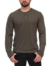 Henley 3-Button Mens Long Sleeve Fashion T-Shirt
