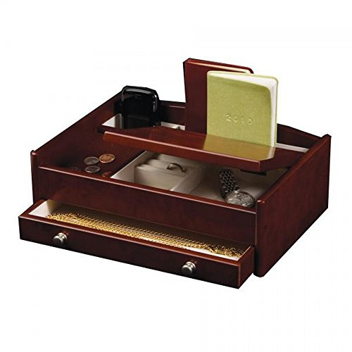 Men's Wooden Dresser Top Valet Tray, Jewelry and Accessory Catch All w/Burlwood Walnut Finish (Dark Burlwood Tray)
