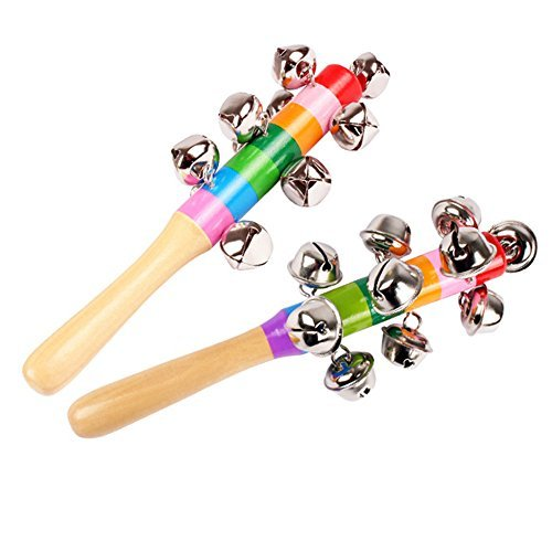 2 Pcs Vivid Color Rainbow Handle Wooden Bells Jingle Stick Shaker Rattle Baby Kids Children Musical Toys