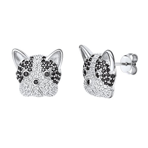 French Bulldog Stud Earrings 925 Stering Silver Funny Family Dog Black and White Eyes Cubic Zirconia Crystal Animal Face Earring