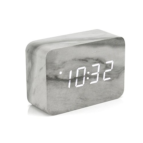Oct17 Marble Pattern Alarm Clock, Fashion Multi-function LED Alarm Clock with USB Power Supply, Voice Control, Timer, Thermometer - Wall Marble Decor