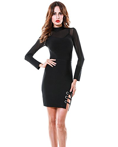 Long Bnadage Cocktail Whoinshop Sheer Mesh Dress Black Sleeve Women's tW6wqT