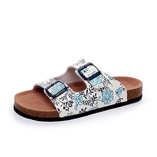 Heart&M Cork Moda antideslizante talón plano de las mujeres planas suela de plataforma zapatos de la correa de la hebilla floral sandalias de los deslizadores de la playa blue and white