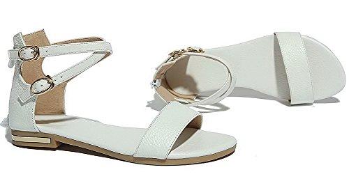 Boucle Femme d'orteil Bas Sandales Blanc à VogueZone009 Couleur Unie Talon Ouverture A1wqYxUd