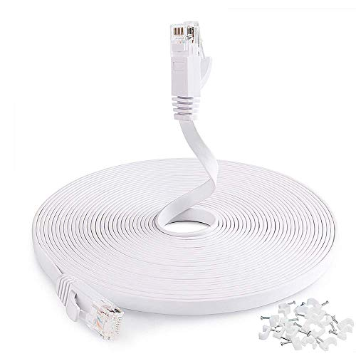 Cat6 Network Cable 25 ft, Flat Ethernet Cable, Slim Ethernet Cord with Clips, Short Computer Ethernet Cable for LAN Wire Network Adapter, Switch, Modem, Mac, Laptop MacBook pro/Air, PS4 in White