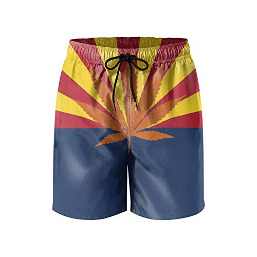 Men's Board Shorts Arizona Flag Marijuana Weed Quick Dry Bathing Suits Mesh Lining Beach Board Shorts