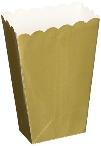 Strand Popcorn (Amscan Regal Small Popcorn Boxes, Gold/White, 5 1/4