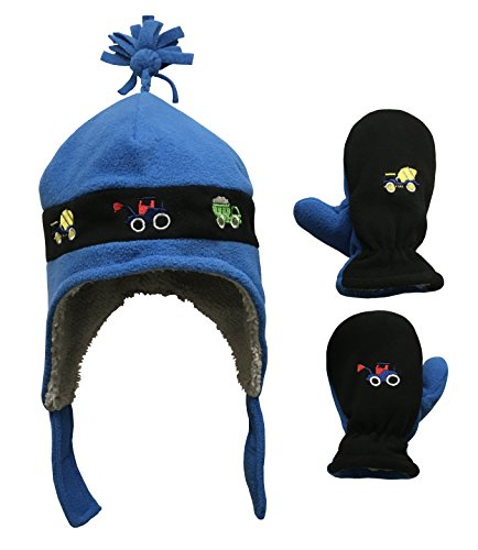 N'Ice Caps Little Boys and Baby Sherpa Lined Fleece Embroidered Hat Mitten Set (Royal/Black Trucks, 2T-4T)