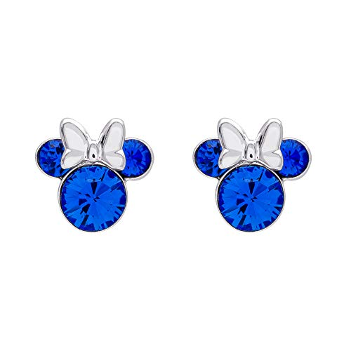 Minnie Mouse Silver Plated Brass September Birthstone Stud Earrings