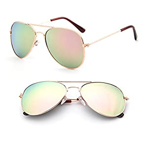 Bettal Kids Polarized Sunglasses for Baby and Child Age 4-12 (Gold&Pink)