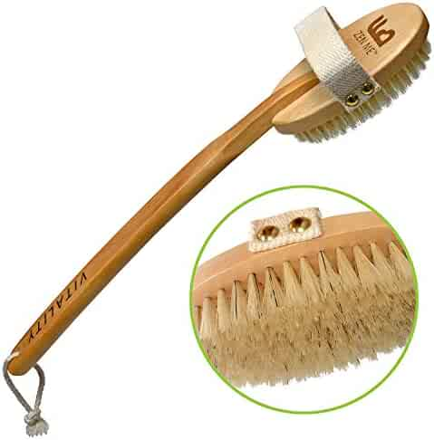 Premium Dry Brush for Cellulite and Lymphatic Massage for Glowing Tighter Skin – Plastic-Free Natural Bristle Body Brush with Long Handle to Easily Exfoliate Dry Skin