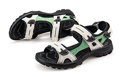 XMeden - Sandalias de vestir de piel auténtica para mujer white green