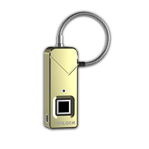 FipiLock Smart Fingerprint Lock Biometric Padlock Portable Outdoor Padlock - Your Finger is Key - Better Than Bluetooth One -Gold