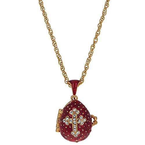 BestPysanky Red Enamel Crystal Cross with Heart Charm Royal Egg Pendant Necklace 20 Inches