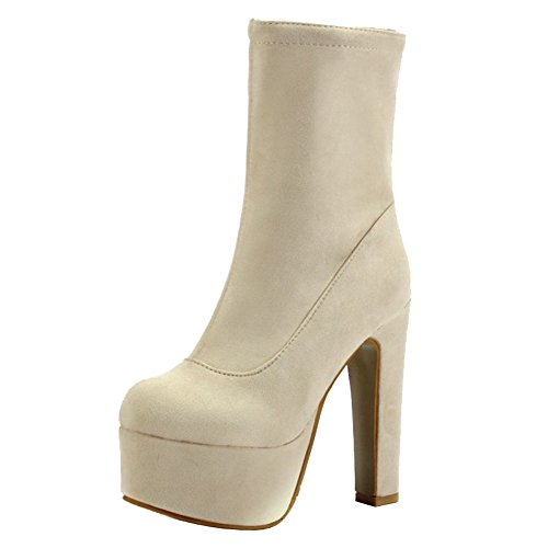 And Beige For Sjjh High Ankle Sexy All Platform With Boots Heel Thick Large Parties Women Short 7HBHwqYnZ