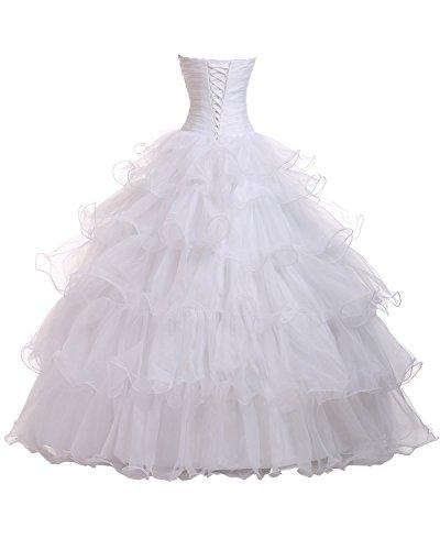 Damen Blue Beaded Ruffles Fanciest Organza Quinceanera White Ball Kleider Dresses vq4pOxwdH