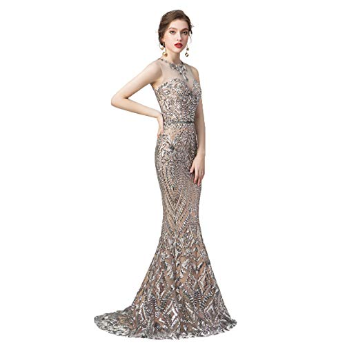 Leyidress Women's Sexy Sequins Trumpet Mermaid Dresses Silver Evening Dress Long Party Prom Gown 4