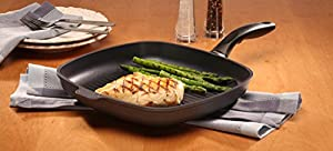 """Swiss Diamond Induction Nonstick Square Grill Fry Pan - 11 x 11"""""""