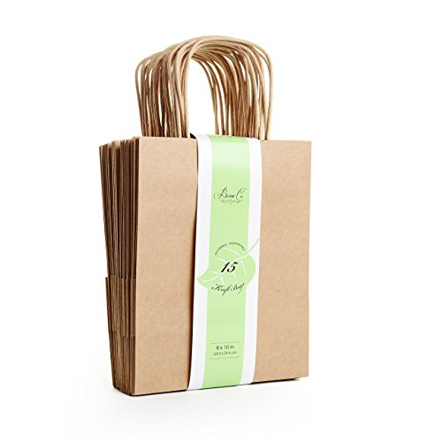 Brown Kraft Paper Bag Premium Set, 15 Count - Medium, 8'' x 10'' x 4.5'', 100% Biodegradable Eco and Environmentally Safe, Perfect for Birthday Party Gift Favor Shopping Retail Art Craft by Bossa Co.