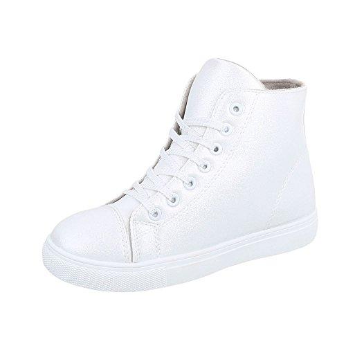Chaussures High Baskets Blanc D01 Ital Mode Espadrilles Plat design Sneakers Argent Femme t8q55Ow