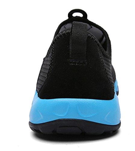 YIRUIYA Männer Mesh Athletic Walking Sneakers Laufschuhe Wasser Schwarz + Saphir