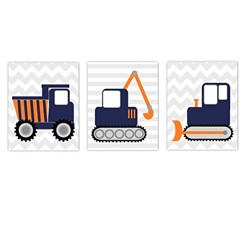 Baby Boy Nursery Art Navy Blue Orange Construction Trucks Tractor Dump Truck Bulldozer Toddler Bedroom Prints Baby Nursery Decor SET OF 3 UNFRAMED PRINTS by Dezignerheart Designs
