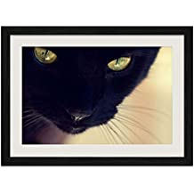 Black-Cat - Art Print Wall Black Wood Grain Framed Picture(24x16inch)
