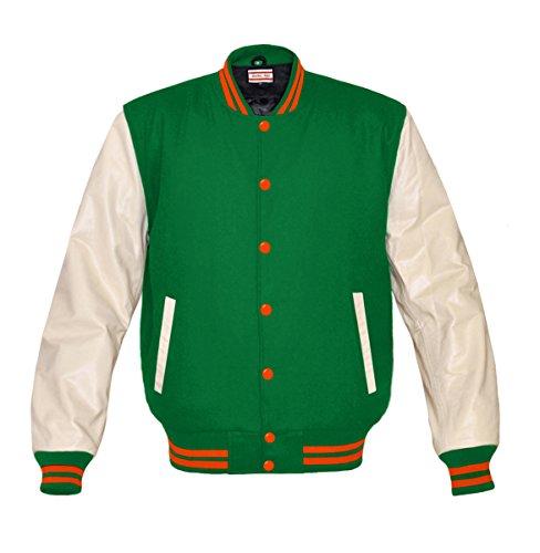 Orginal American Style Varsity Leather Biker Letterman College Men Wool Jackets Green-orange Stripe XXX-Large