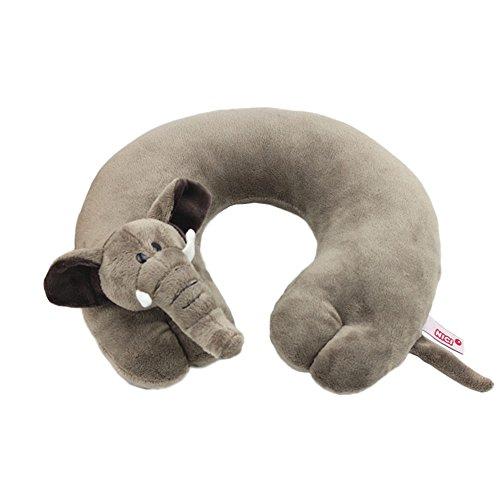 Mural Art Comfortable U Shape Travel Pillow Soft Cartoon Animal Shape Neck Pillow Rest Cushion for Car Flying Traveling (Elephant)