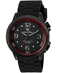 Rip Curl DVR Quartz Stainless Steel and Silicone Sport Watch, Color:Black (Model: A2964-MID)