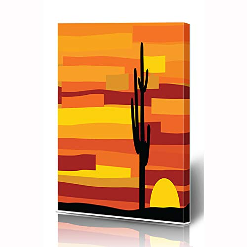 (Ahawoso Canvas Prints Wall Art 8x10 Inches Mexican Orange Arizona Sunset Desert Nature Red Southwest Cactus Agave Back Design Wooden Frame Printing Home Living Room Office Bedroom )