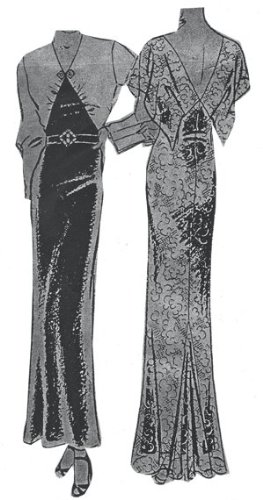 1930s Fashion Colors & Fabric 1930s Evening Dinner or Formal Afternoon Gown Pattern $18.00 AT vintagedancer.com
