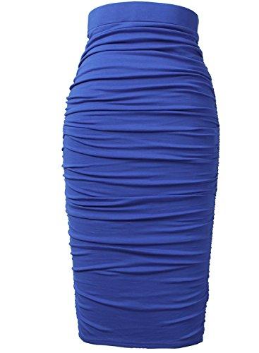 620b14ab6e VfEmage Womens Elegant Ruched Frill Ruffle High Waist Pencil Mid-Calf Skirt  9729 BLU S