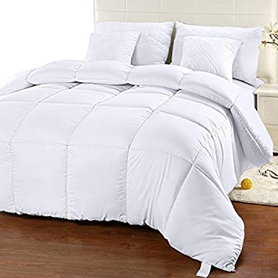 Utopia Bedding Comforter Duvet Insert - Quilted Comforter with Corner Tabs - Box Stitched Down Alternative Comforter (King, White) - COMFORTER DUVET INSERT - King comforter duvet insert measures 90 inches x 102 inches BOX STYLE STITCHING - Crisp looking comforter with 350gsm filling features piped edges with an elegant style box stitching that prevent the fill from shifting SILICONIZED FIBERFILL - Extremely soft material with siliconized fiberfill alternative filling provides a comfy and cozy feel - comforter-sets, bedroom-sheets-comforters, bedroom - 415jVpCHroL. SS400  -