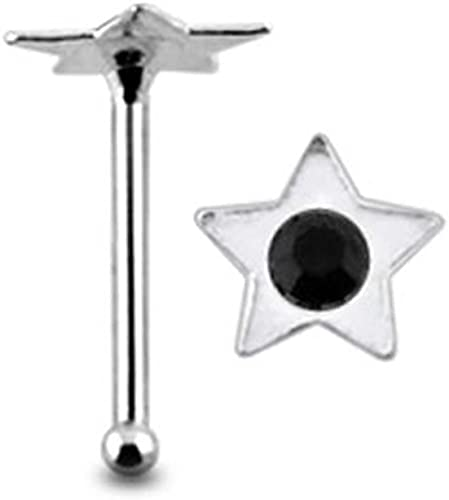 Amazon Com Black Jeweled Flat Star Top 22 Gauge 6mm Length