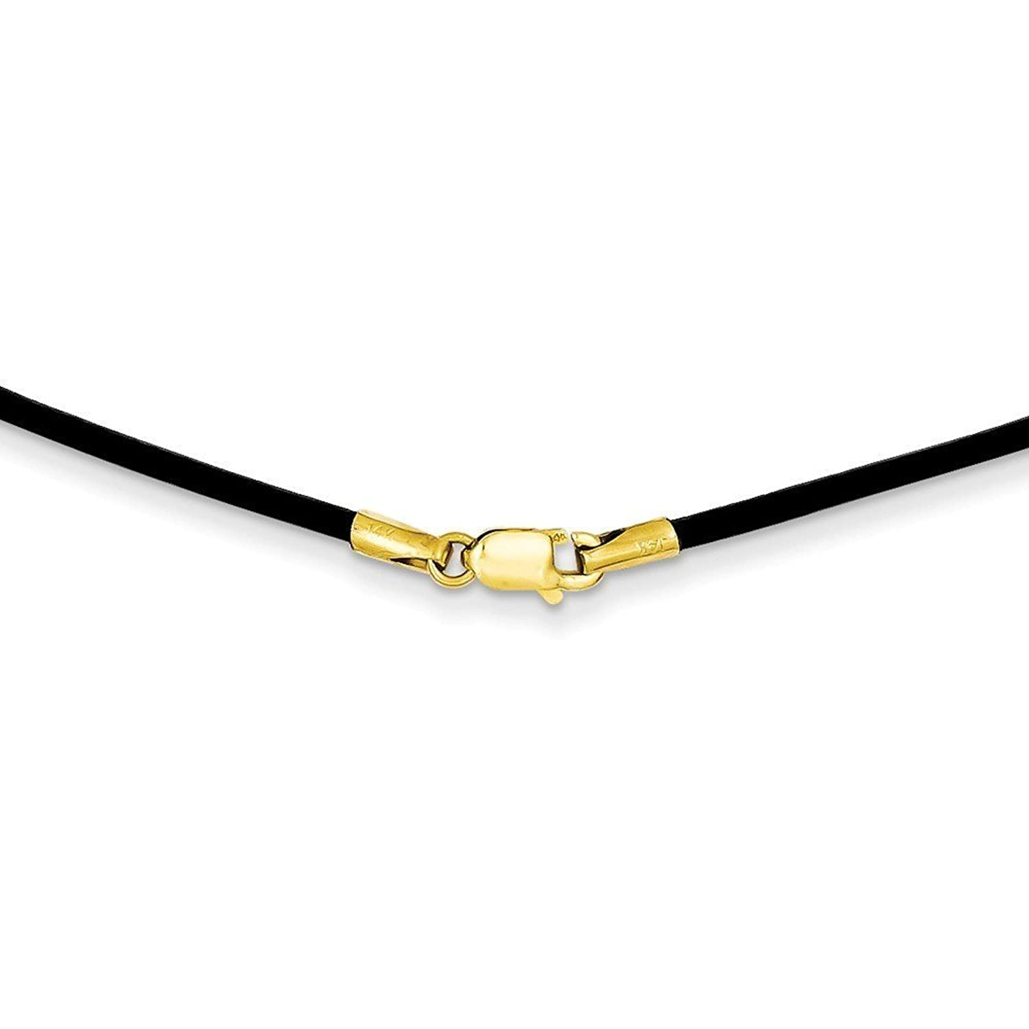 14K Gold 1.6mm 16in Black Leather Cord Necklace 16 Inches