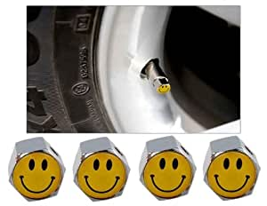 4-piece Smiley Face Tire Valves with Leak-proof Rubber Ring