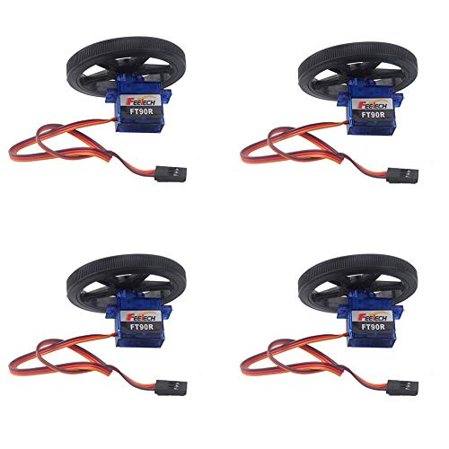 Feetech FT90R Digital Servo 360 Degree Continuous Rotation Micro RC Servo with Wheel for RC Car Plane Robot (Pack of 4 Pairs) -