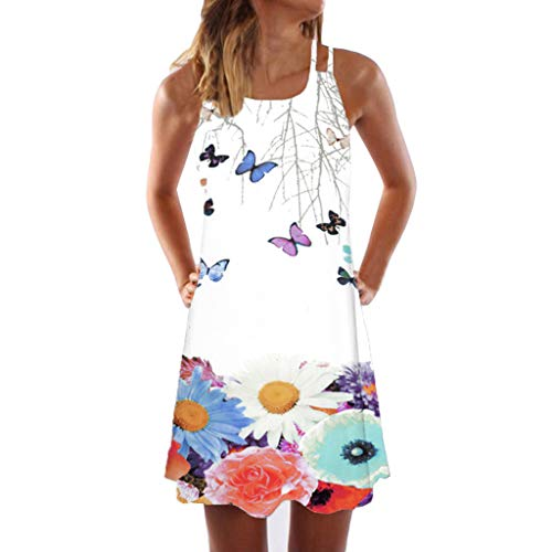WEISUN Vintage Dress Women Boho Sleeveless Beach Dress Summer Printed Short Mini Dress Red