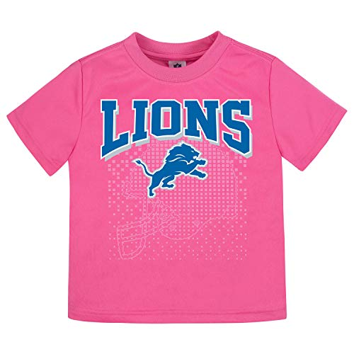 NFL Detroit Lions Girls Short-Sleeve Tee, Pink, 2T