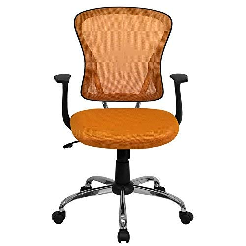Flash Furniture Mid-Back Orange Mesh Swivel Task Office Chair with Chrome Base and Arms - (Virginia Mart Furniture)