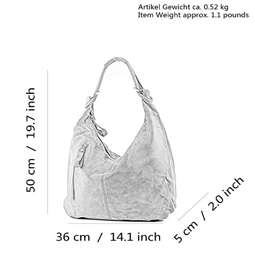 Leather Bag Bag ital Leather Wild Hobo Beige Leather Bag Gray modamoda de T158 Large EUBqpp