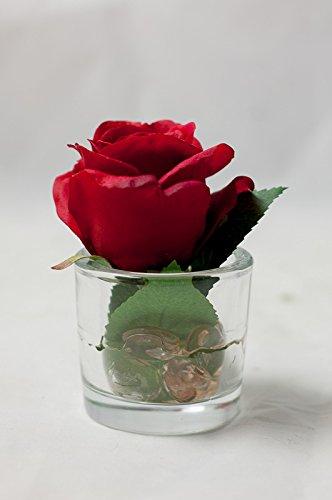 Rote Rose Im Glas Tischgesteck Tischdeko Mit Kunstlichen Rosen Zu